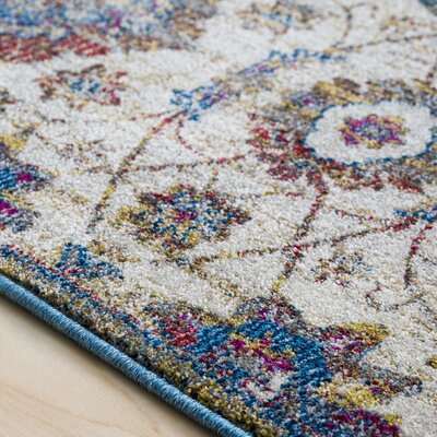Alton Traditional Floral Sky Blue/Khaki Area Rug Rug Size: Rectangle 7'10