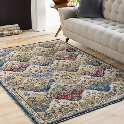 Scottville Vintage Floral Khaki Area Rug Rug Size: Rectangle 93 x 123