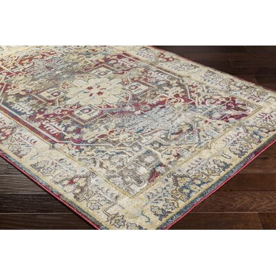 Maranda Vintage Khaki/Dark Red Area Rug Rug Size: Rectangle 67 x 96