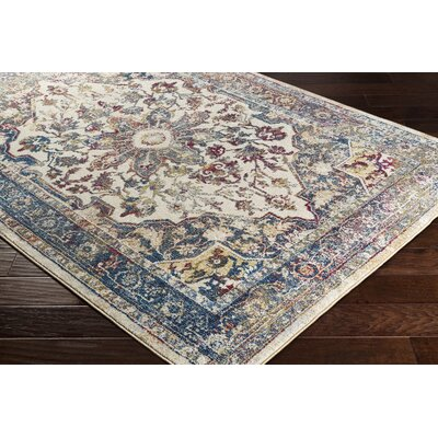 Maner Vintage Floral Dark Blue Area Rug Rug Size: Rectangle 710 x 103