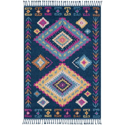 Harwyn Bohemian Navy/Sky Blue Area Rug Rug Size: Rectangle 3'11