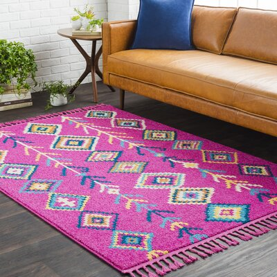 Kaliska Modern Bohemian Bright Pink Area Rug Rug Size: Runner 27 x 10