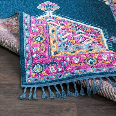 Kaliska Navy/Bright Pink Area Rug Rug Size: Rectangle 5 x 73