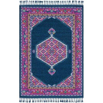 Harwyn Navy/Bright Pink Area Rug Rug Size: 3'11