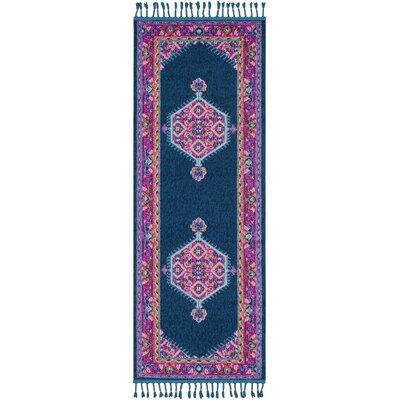 Kaliska Navy/Bright Pink Area Rug Rug Size: Runner 27 x 10