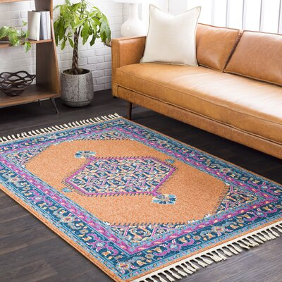Kaliska Burnt Orange/Navy Area Rug Rug Size: 2 x 3