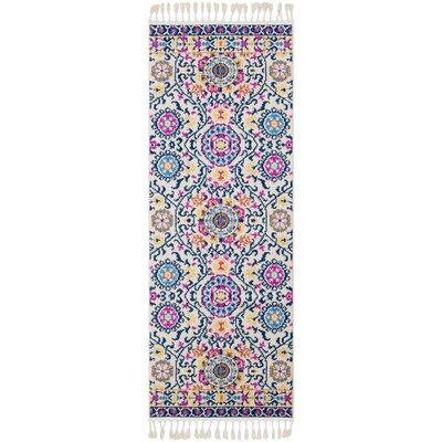 Kaliska Traditional Floral Blue/Pink Area Rug Rug Size: Runner 27 x 73