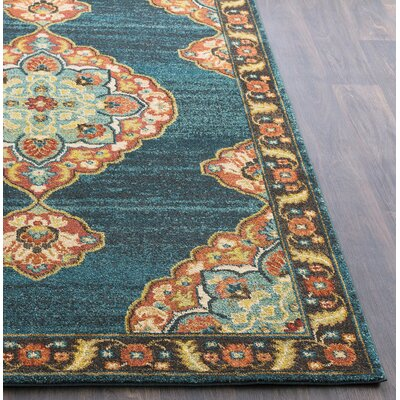 Manitou Traditional Floral Teal Area Rug Rug Size: Rectangle 93 x 126