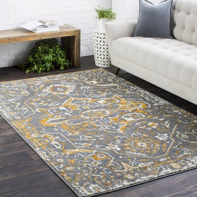 Nicole Charcoal/Burnt Orange Area Rug Rug Size: Rectangle 710 x 103