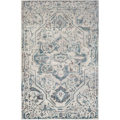 Nicole Teal/Khaki Area Rug Rug Size: Rectangle 53 x 73