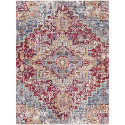 Turner Vintage Dark Red/Blue Area Rug Rug Size: 53 x 73