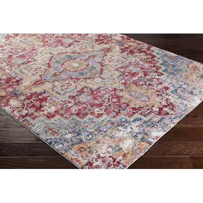 Turner Vintage Dark Red/Blue Area Rug Rug Size: 3 x 5