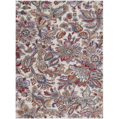 Turner Modern Floral Cream/Red Area Rug Rug Size: 53 x 73