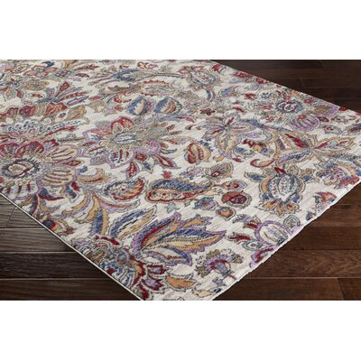 Turner Modern Floral Cream/Red Area Rug Rug Size: 2 x 3