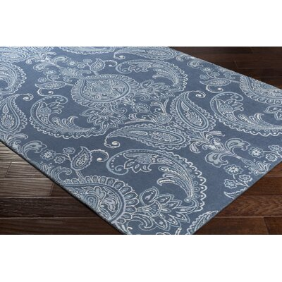Kittelson Traditional Wool Navy/Aqua Area Rug Rug Size: 76 x 96