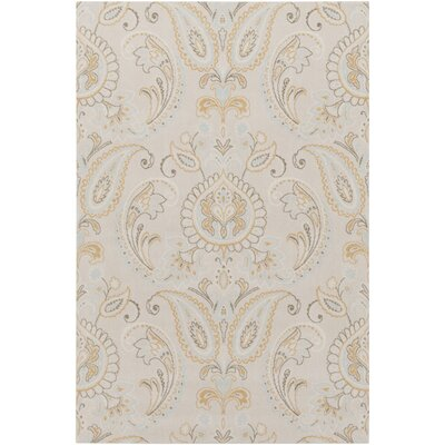 Kittelson Traditional Wool Tan/Aqua Area Rug Rug Size: 76 x 96