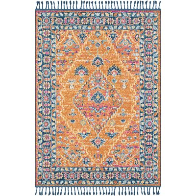 Josie Vintage Floral Burnt Orange Area Rug Rug Size: 3'11