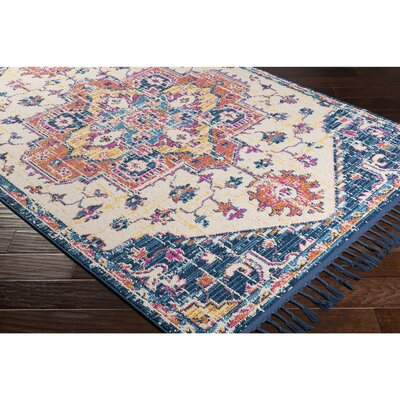 Love Vintage Floral Sky Blue Area Rug Rug Size: Rectangle 93 x 121
