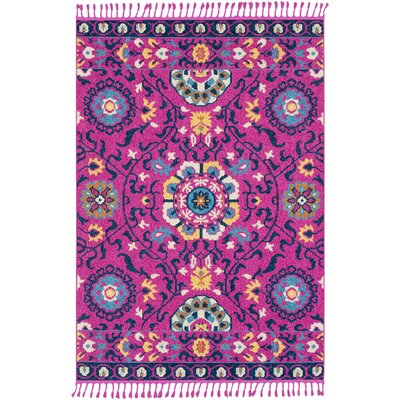 Josie Traditional Floral Bright Pink Area Rug Rug Size: Rectangle 93 x 121