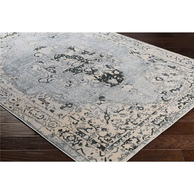 Synthia Blue/Cream Area Rug Rug Size: Rectangle 2' x 3'