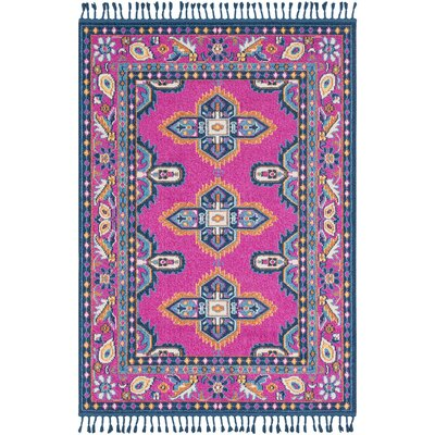 Josie Bright Pink/Sky Blue Traditional Area Rug Rug Size: Rectangle 93 x 121