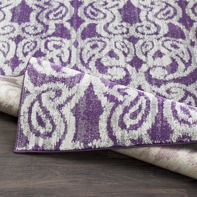 Courtney Eggplant/Gray Area Rug Rug Size: Rectangle 76 x 106