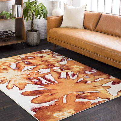Azure Abstract Brown Area Rug Rug Size: Rectangle 52 x 76