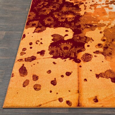 Azure Abstract Orange/Rust Area Rug Rug Size: Rectangle 76 x 106