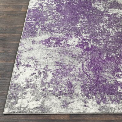 Candelaria Abstract Medium Gray/Dark Purple Area Rug Rug Size: Rectangle 76 x 106