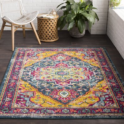 Camp Ellis Teal/Yellow/Pink Area Rug Rug Size: Rectangle 2 x 3