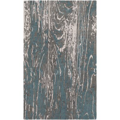 Fidela Abstract Hand Tufted Wool Teal/Dark Brown Area Rug Rug Size: Rectangle 33 x 53