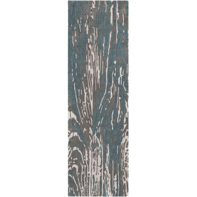 Fidela Abstract Hand Tufted Wool Teal/Dark Brown Area Rug Rug Size: Runner 26 x 8