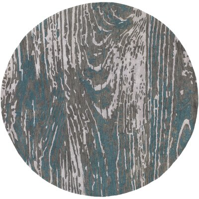 Fidela Abstract Hand Tufted Wool Teal/Dark Brown Area Rug Rug Size: Round 8