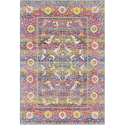Tillamook Traditional Silk Floral Rose/Bright Pink Area Rug Rug Size: Rectangle 53 x 76
