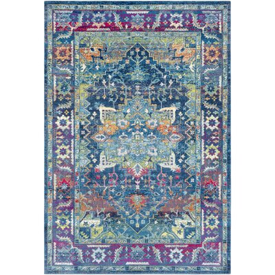 Tillamook Silk Traditional Floral Sky Blue/Bright Blue Area Rug Rug Size: Rectangle 53 x 76