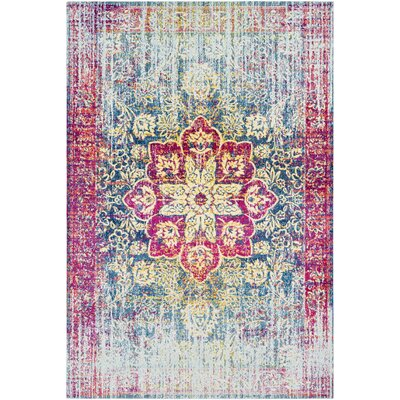 Tillamook Traditional Silk Distressed Floral Rose/Bright Pink Area Rug Rug Size: Rectangle 53 x 76