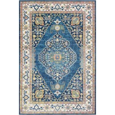 Tillamook Silk Floral Sky Blue/Bright Blue Area Rug Rug Size: Rectangle 710 x 103