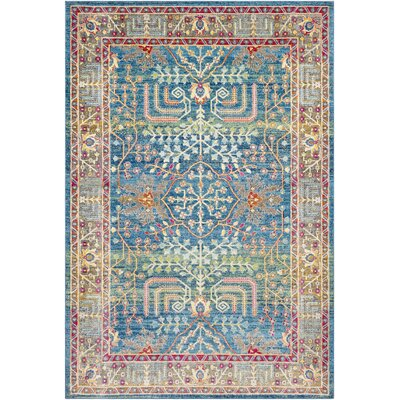 Tillamook Traditional Silk Floral Bright Blue/Sky Blue Area Rug Rug Size: Rectangle 53 x 76