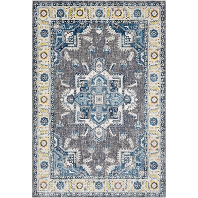 Tillamook Blue/Medium Gray Area Rug Rug Size: Rectangle 53 x 76