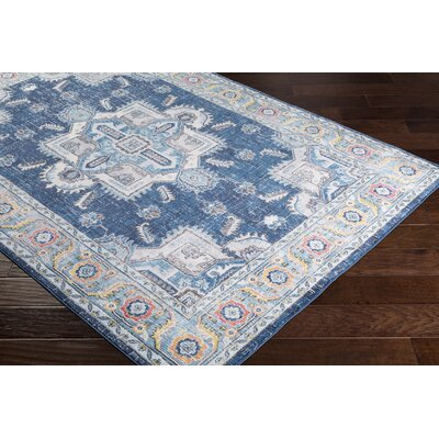Tillamook Silk Distressed Floral Sky Blue/Gray Area Rug Rug Size: Runner 27 x 76