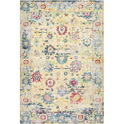 Tillamook Silk Vintage Floral Bright Yellow/White Area Rug Rug Size: Rectangle 53 x 76