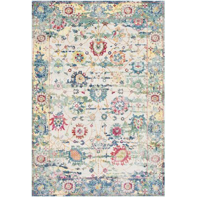 Tillamook Silk Vintage Floral Sky Blue/Bright Blue Area Rug Rug Size: Rectangle 2 x 3