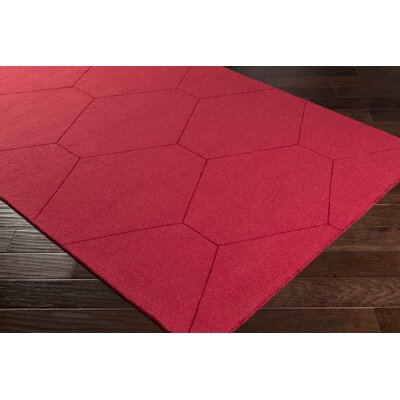 Pulcova Hand Woven Wool Dark Red Area Rug Rug Size: Rectangle 5 x 76