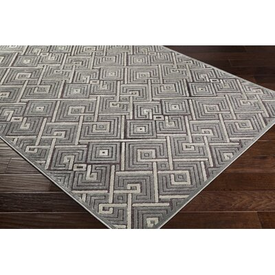 Pugh Modern Geometric Medium Gray Area Rug Rug Size: Rectangle 52 x 76