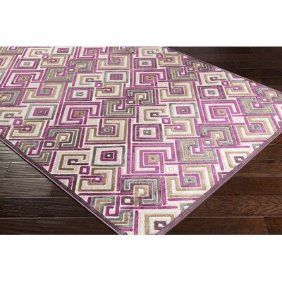 Pugh Modern Geometric Bright Purple/Butter Area Rug Rug Size: Rectangle 76 x 106