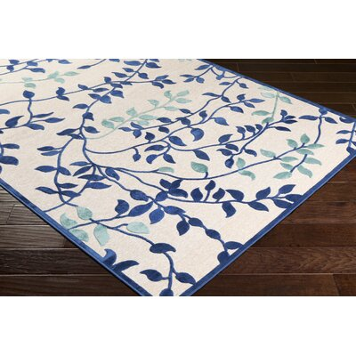 Holoman Transitional Floral Bright Blue/Teal Area Rug Rug Size: Rectangle 52 x 76