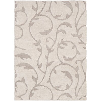 Arlen Floral Cream/Tan Area Rug Rug Size: Rectangle 53 x 73