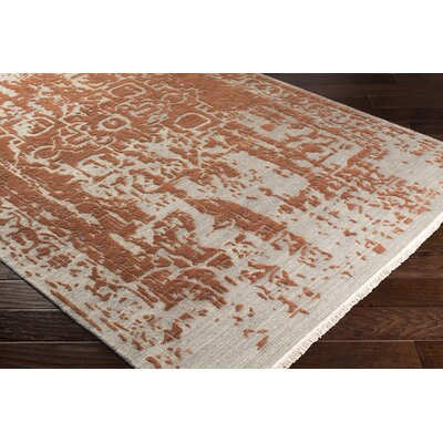 Rio Vista Distressed Hand Knotted Wool Khaki/Orange Area Rug Rug Size: Rectangle 9 x 13