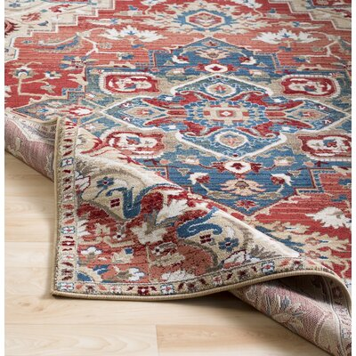 Arbouet Traditional Floral Cream/Red Area Rug Rug Size: Rectangle 51 x 74