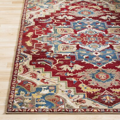 Arbouet Floral Red/Cream Area Rug Rug Size: Rectangle 51 x 74